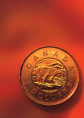close-up of a Canadian coin