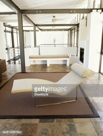 close-up of a chaise lounge in a living room