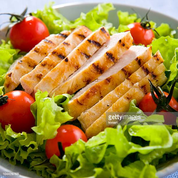 A close-up of a chicken salad on a plate