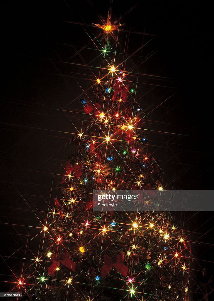 close-up of a Christmas tree lit up in the dark : Stock Photo