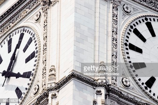 Close-up of a clock tower, Wrigley Building, Chicago, Illinois, USA : Stock-Foto