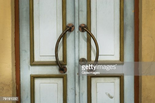 Close-up of a closed door : Stock Photo