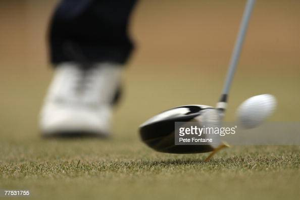 A closeup of a club hitting a ball off the tee during a practice day at the 2006 Weetabix Women's British Open at the Royal Lytham and St Annes Golf...