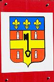 Close-up of a coat of arms, Le Mans, Sarthe, Pays-de-la-Loire, France