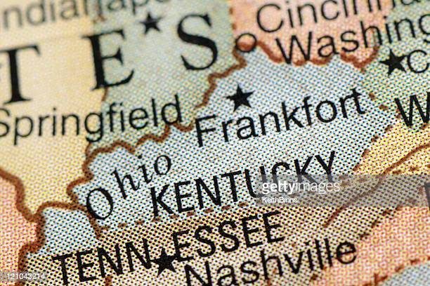 Close-up of a colored map centered on Kentucky