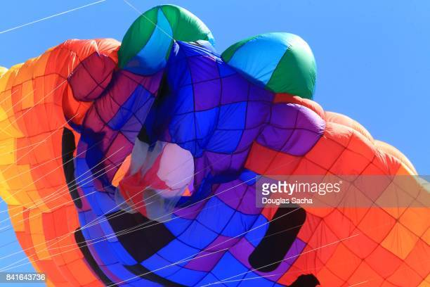 Close-up of a Colorful kite flying in the sky
