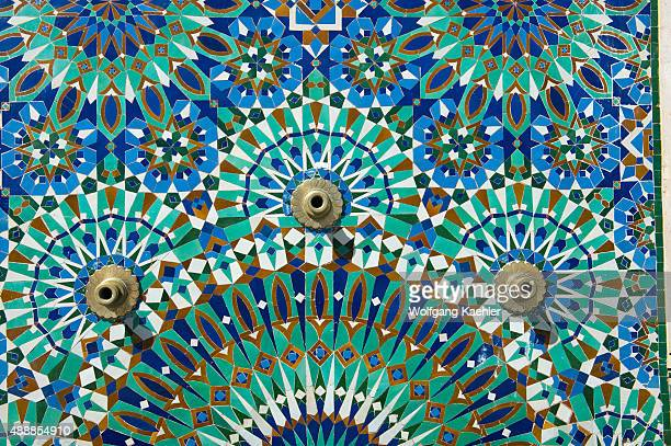 Closeup of a colorful mosaic at the Hassan II Mosque or Grande Mosquee Hassan II in Casablanca which is the largest mosque in Morocco and Africa
