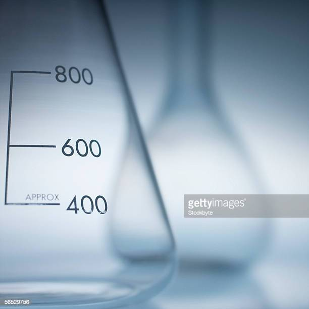 close-up of a conical flask