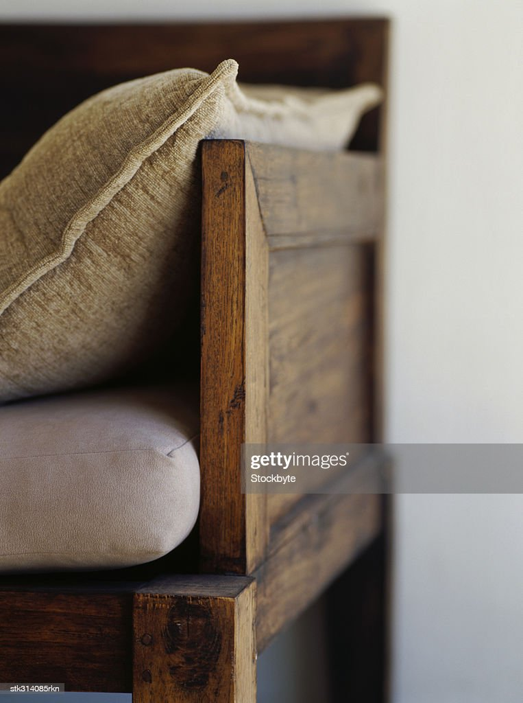 close-up of a couch in a living room : Stock Photo