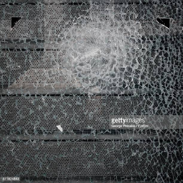 Close-up of a cracked windshield