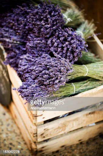 Close-up of a crate full of in bloom lavender bundles