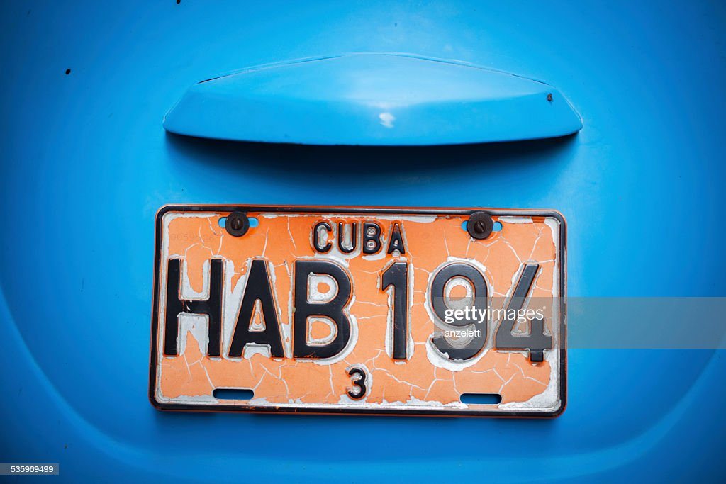 Close-up of a Cuban vehicle registration plate : Stock Photo