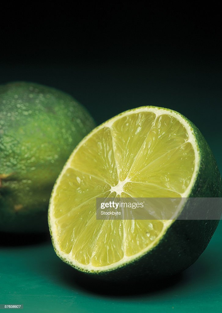 close-up of a cut open lime : Stock Photo