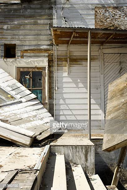 Close-up of a damaged house