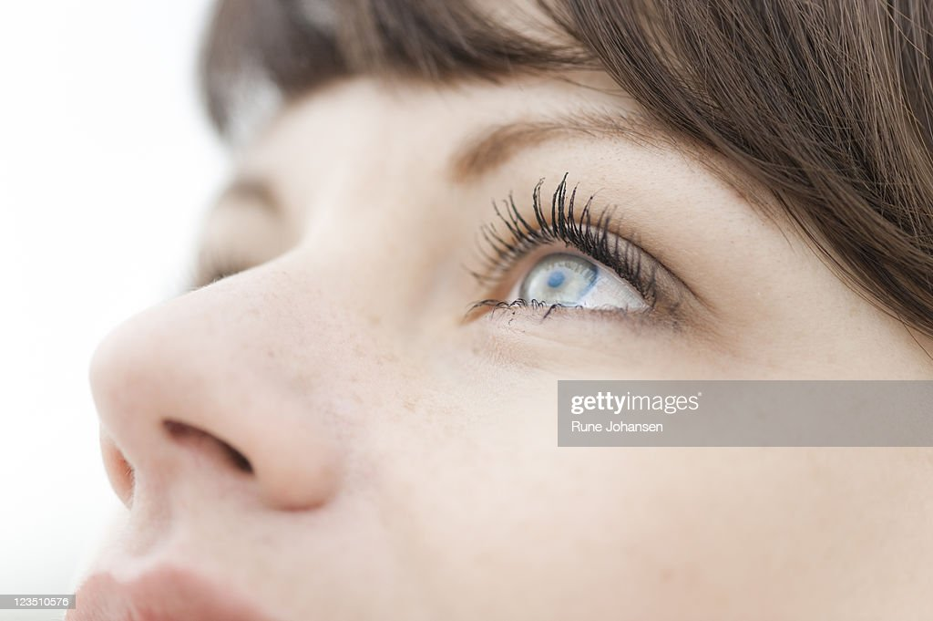 Closeup of a Danish woman's, 26 years old, blue eyes : Stock Photo