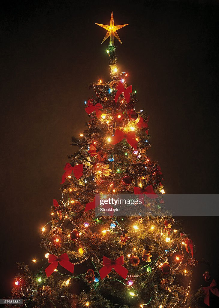 close-up of a decorated and lit up Christmas tree : Stock Photo