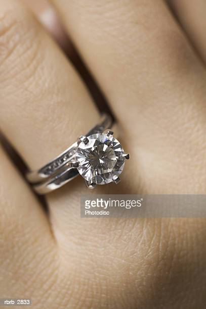 Close-up of a diamond ring on a woman's finger