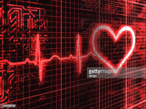 Closeup of a digital pulse and heart background
