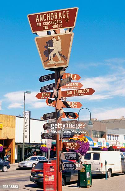 Close-up of a directional sign post on the road, Anchorage, Alaska, USA