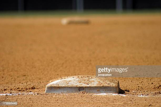 A close-up of a dirty baseball field