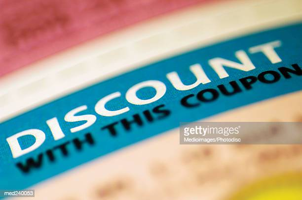 Close-up of a discount coupon