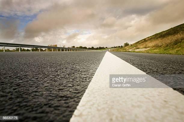 close-up of a dividing line of a road