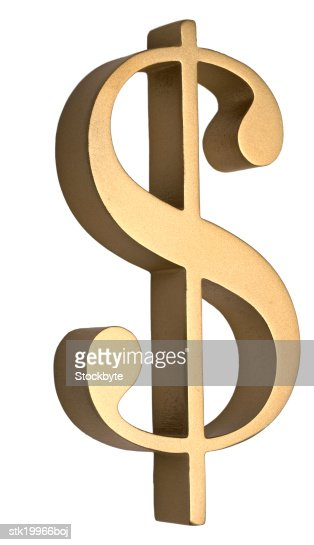 close-up of a dollar sign in brass : Foto de stock