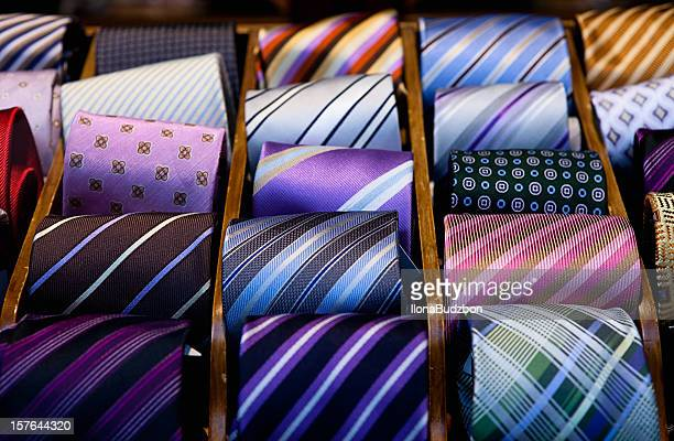 Close-up of a drawer full of silk ties