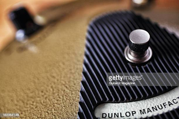 A closeup of a Dunlop Eric Johnson Sugnature Fuzz Face electric guitar effects pedal photographed during a shoot for Guitarist Magazine August 8 2012
