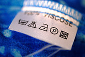 Close-up of a fabric care tag