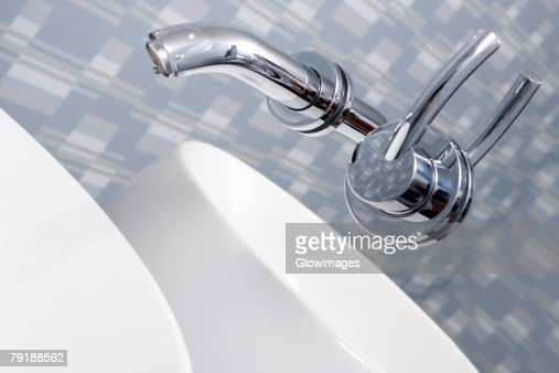 Close-up of a faucet in the bathroom : Stock Photo