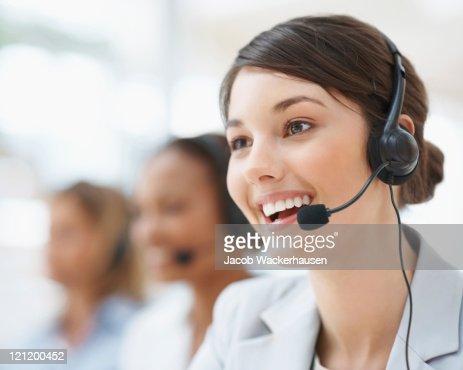 Closeup of a female customer service representative