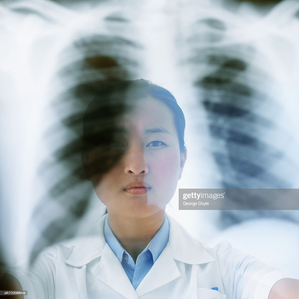 Close-up of a female medical professional holding up an x-ray : Stock Photo