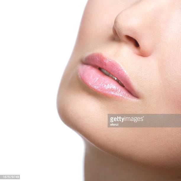 Close-up of a females chin and lips