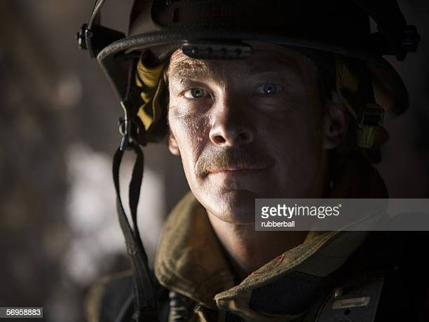 Close-up of a firefighter