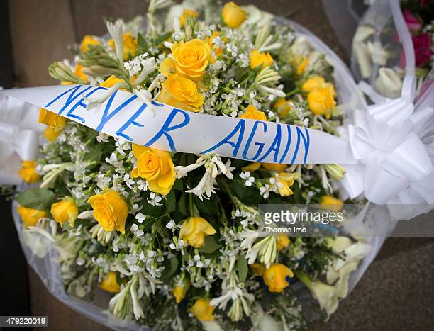 Closeup of a floral wreath at the Kigali Genocide Memorial Centre on February 02 2014 in Kigali Rwanda The Rwandan Genocide was a genocidal mass...