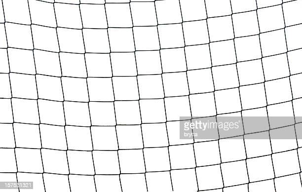 Close-up of a football soccer net on  a white background.