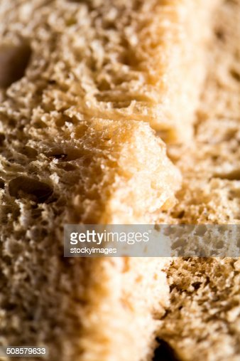 Closeup of a fresh wheat bread slice : Stock Photo