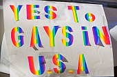 Close-up of a gay rights protest banner