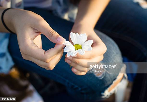 Close-up of a girl holding a daisy