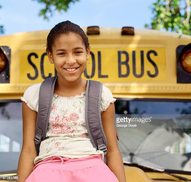 Close-up of a girl sitting on a bus