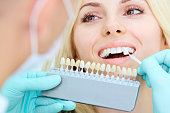 Closeup of a girl with beautiful smile at the dentist. Dental care concept. Whitening