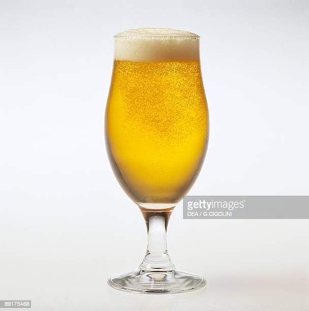 Closeup of a glass of beer
