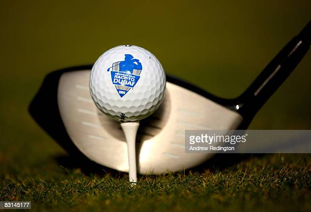 A closeup of a golf ball showing the Race To Dubai logo during the launch of The Race To Dubai at a media day at the Turnberry Resort on October 6...