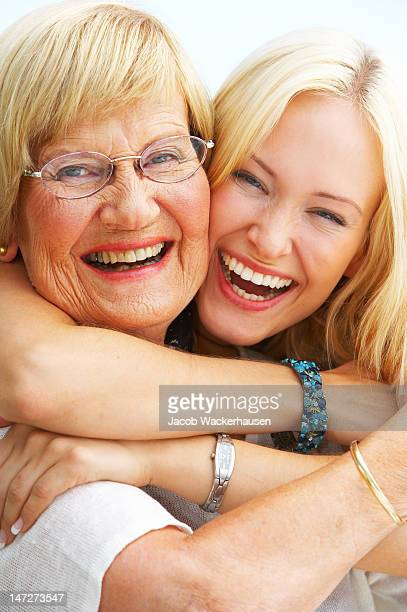 Close-up of a grandmother and granddaughter having fun