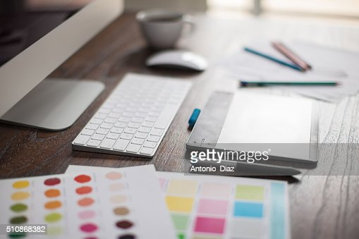 Closeup of a graphic designer's desk : Stock Photo
