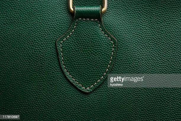 Nahaufnahme eines grünen Ledertasche Textur Hintergrund