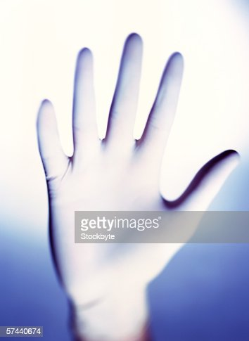 close-up of a hand wearing a latex glove : Stock Photo