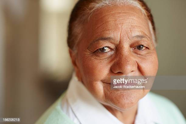 Close-up of a happy old woman