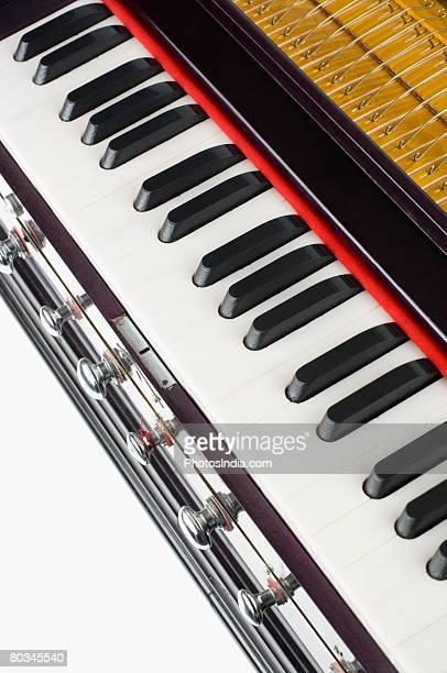 Close-up of a harmonium